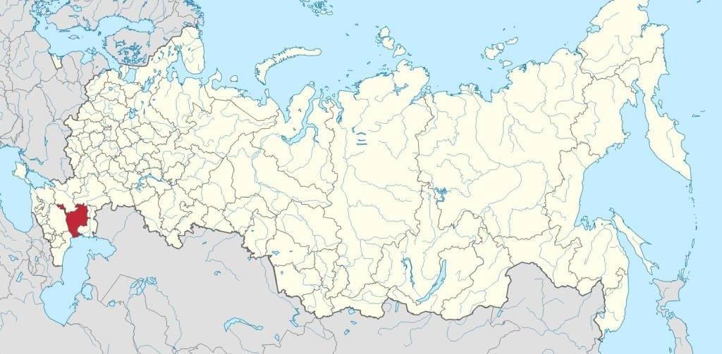 Республика Калмыкия на карте Российской Федерации